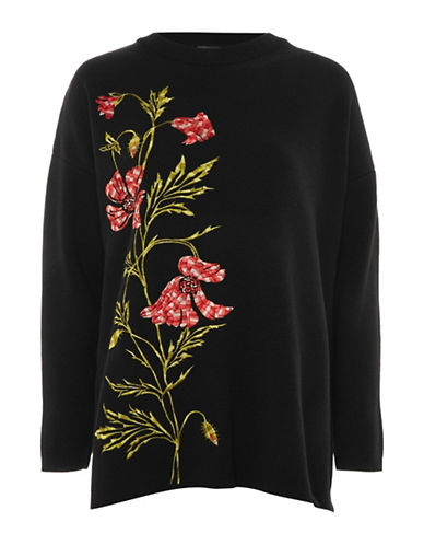 Topshop Supersized Embroidered Sweater-BLACK-UK 8/US 4