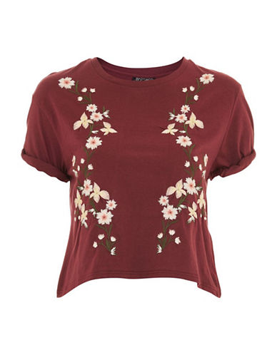 Topshop PETITE Floral Embroidery T-Shirt-BURGUNDY-UK 4/US 0