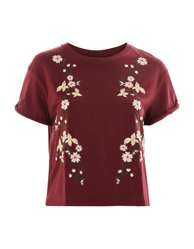 Topshop TALL Floral Embroidery T-Shirt-BURGUNDY-UK 14/US 10