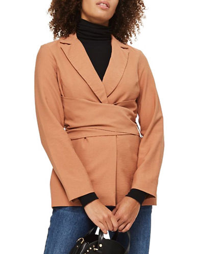 Topshop Wrap Tie Blazer-BLUSH-UK 12/US 8