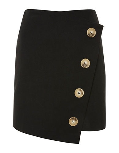 Topshop Twill Asymmetrical Wrap Skirt-BLACK-UK 14/US 10