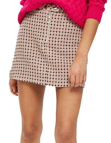 Topshop Geometric Print Jacquard Mini Skirt-PINK-UK 14/US 10