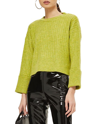 Topshop Stretch Ribbed Crop Sweater-LIME-UK 12/US 8