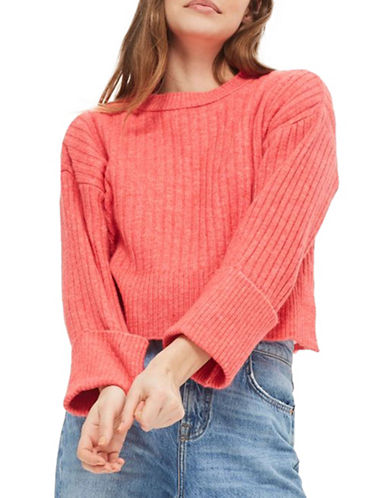 Topshop Stretch Ribbed Crop Sweater-BRIGHT PINK-UK 14/US 10