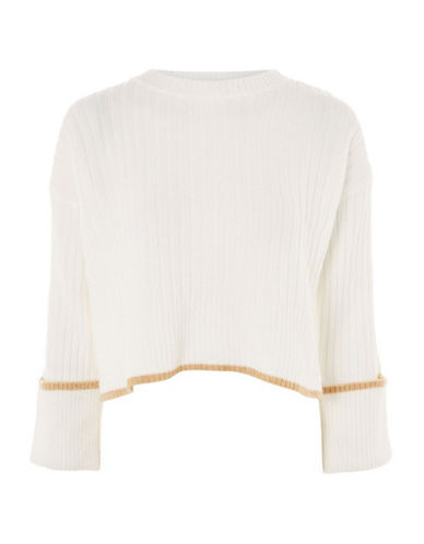 Topshop Stretch Ribbed Crop Sweater-IVORY-UK 16/US 12
