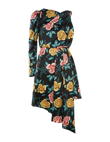Topshop One-Sleeved Floral-Printed Dress-BLACK-UK 10/US 6
