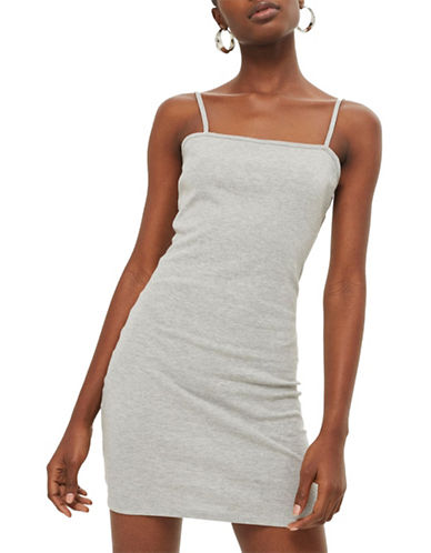 Topshop Marl Bodycon Jersey Dress-GREY MARL-UK 10/US 6