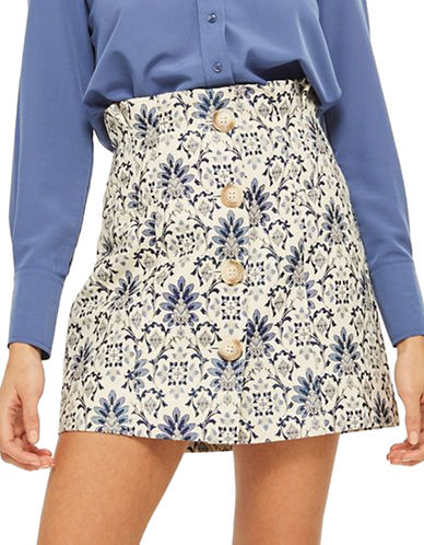 Topshop Porcelain Jacquard Mini Skirt-IVORY-UK 12/US 8