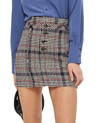 Topshop Checked Button Zip Mini Skirt-MULTI-UK 10/US 6