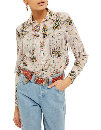 Topshop Rodeo Fringe Floral Shirt-MULTI-UK 10/US 6