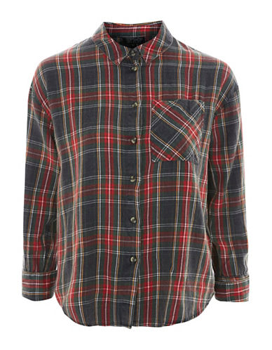 Topshop Washed Tartan Shirt-RED-UK 6/US 2