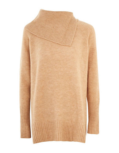 Topshop Split Roll Neck Sweater-CAMEL-UK 6/US 2