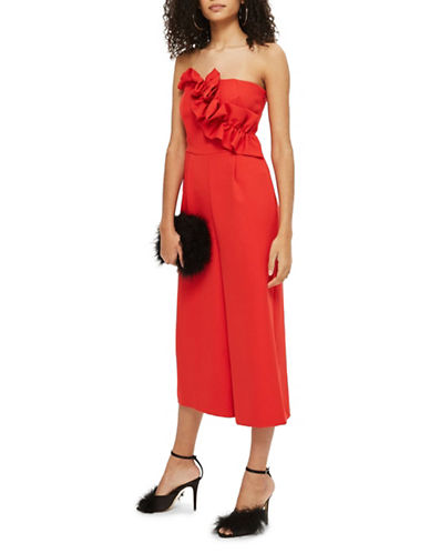 Topshop Bandeau Jumpsuit-RED-UK 12/US 8