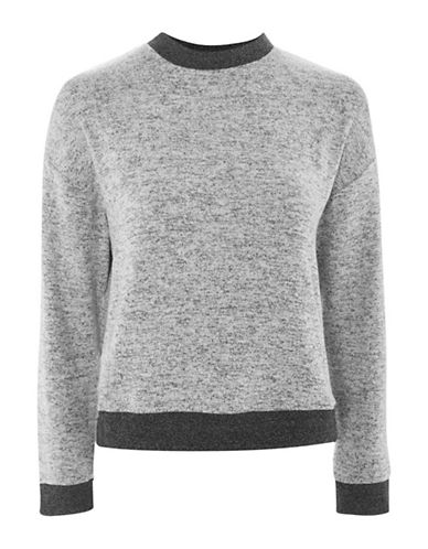 Topshop Marled Crew Neck Sweatshirt-GREY MARL-UK 10/US 6
