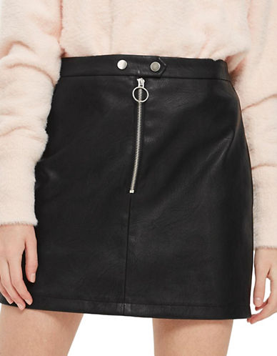 Topshop Zip Faux Leather Mini Skirt-BLACK-UK 6/US 2