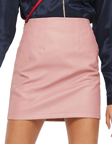 Topshop Faux Leather Mini Skirt-PINK-UK 6/US 2