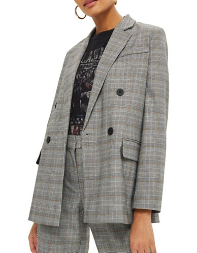 Topshop Checked Double-Breasted Jacket-GREY-UK 6/US 2