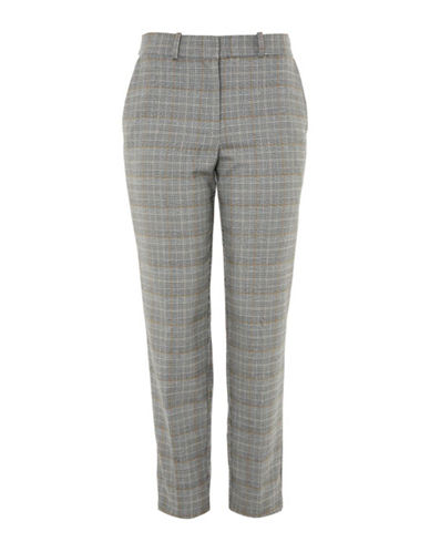 Topshop Checked Tapered Leg Trousers-GREY-UK 8/US 4