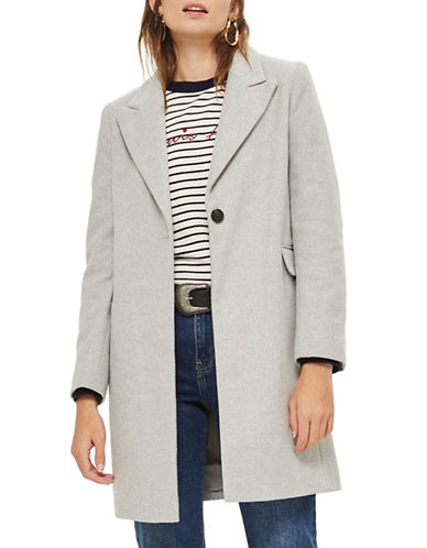 Topshop Twist Seam Coat-GREY-UK 10/US 6