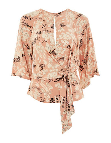 Topshop Fern Knot-Front Blouse-PINK-UK 10/US 6