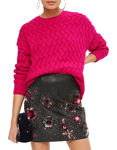 Topshop Plait Sweater-BRIGHT PINK-UK 14/US 10