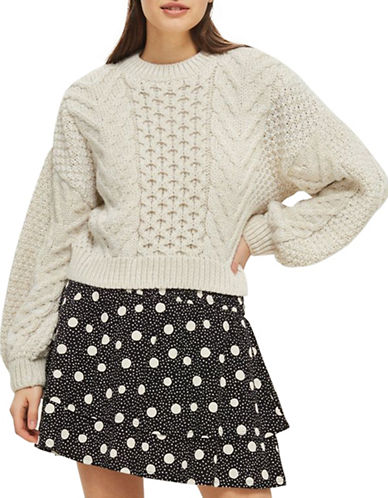Topshop Blouson Cropped Cable Sweater-CHARCOAL-UK 10/US 6