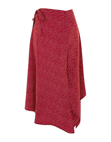 Topshop Spot Midi Skirt-RUST-UK 12/US 8