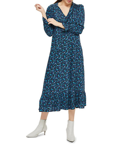 Topshop Paisley Print Midi Dress-BLUE-UK 14/US 10