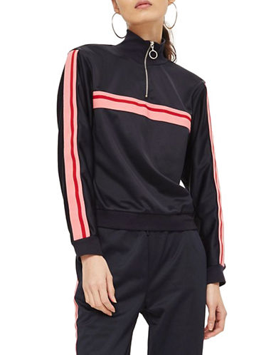 Topshop Striped Track Top-NAVY BLUE-UK 12/US 8