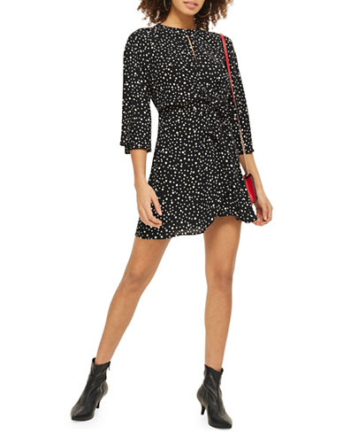 Topshop PETITE Knot-Front Mini Dress-BLACK-UK 6/US 2