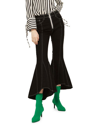 Topshop MOTO Seam Crop Flared Jeans 30-Inch Leg-BLACK-26X30