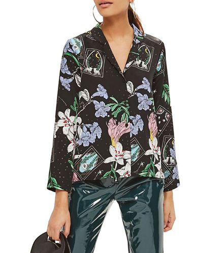 Topshop Tarot Card Blouse-BLACK-UK 6/US 2