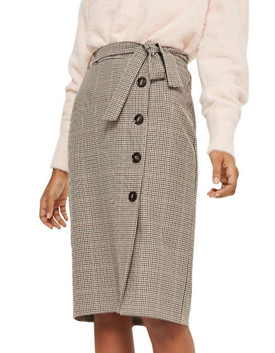 Topshop Checked Midi Skirt-BURGUNDY-UK 10/US 6