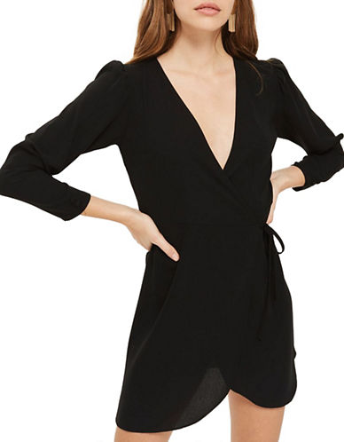 Topshop Crepe Wrap Mini Dress-BLACK-UK 8/US 4