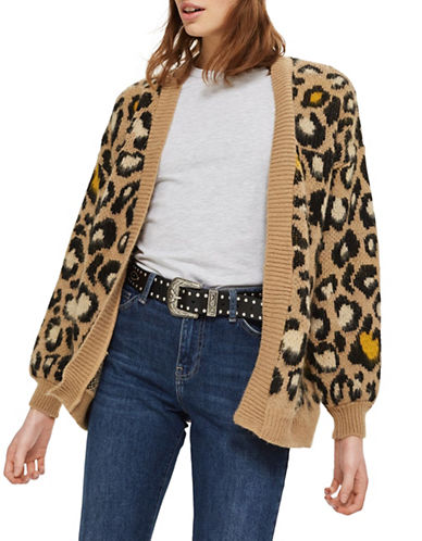 Topshop Leopard Cardigan-BROWN-UK 8/US 4