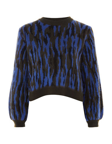 Topshop Zebra Sweater-BLUE-UK 8/US 4