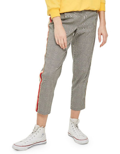 Topshop Cropped Check Trousers-GREY-UK 12/US 8
