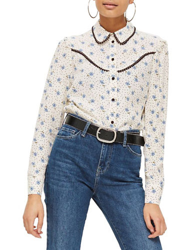 Topshop Rodeo Floral Spot Shirt-BLUE-UK 12/US 8