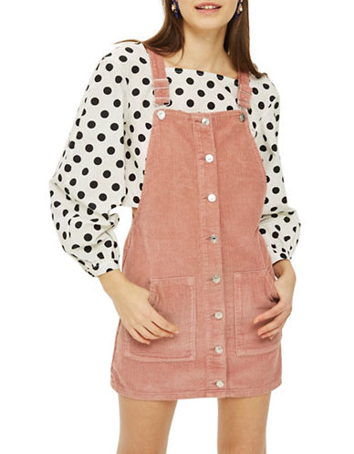 Topshop MOTO Corduroy Pinafore Dress-PINK-UK 14/US 10