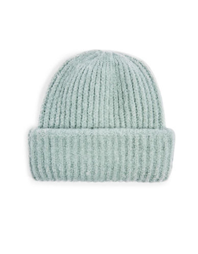 Topshop Ribbed Beanie-MINT-One Size