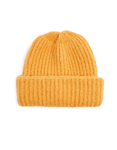 Topshop Ribbed Beanie-YELLOW-One Size