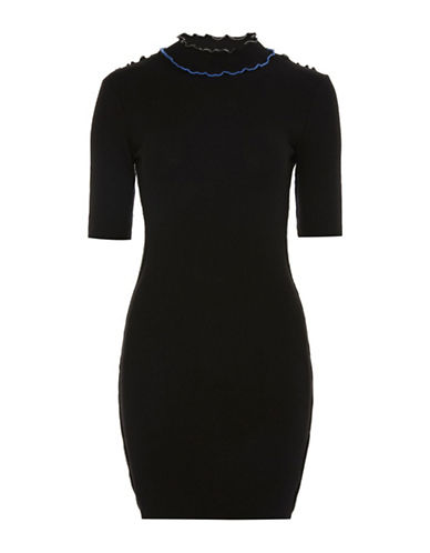 Topshop Lettuce Hem Bodycon Dress-BLACK-UK 8/US 4