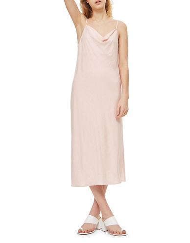 Topshop Satin Midi Dress-BLUSH-UK 12/US 8