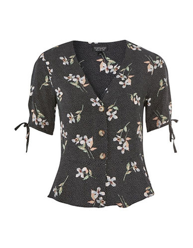 Topshop Floral Button-Down Blouse-BLACK-UK 12/US 8