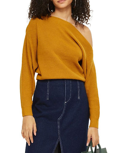 Topshop Cashmere-Blend Off-the-Shoulder Cropped Sweater-MUSTARD-UK 14/US 10