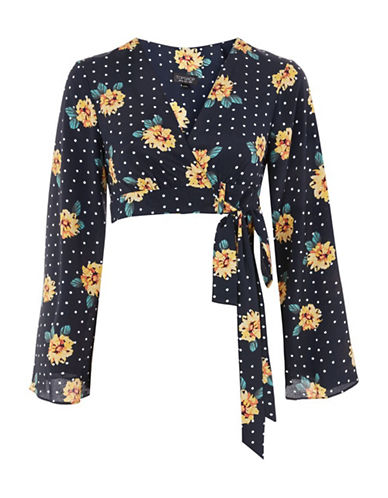 Topshop Daisy Print Spot Wrap Top-NAVY-UK 8/US 4