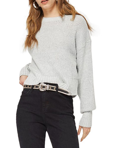 Topshop Curved Hem Crop Sweater-GREY MARL-Large