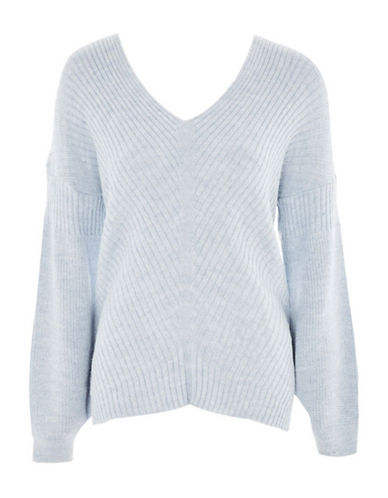 Topshop Longline Asymmetrical Sweater-LIGHT BLUE-UK 8/US 4