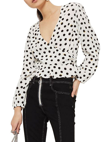 Topshop Shadow Spot Print Wrap Blouse-MONOCHROME-UK 14/US 10