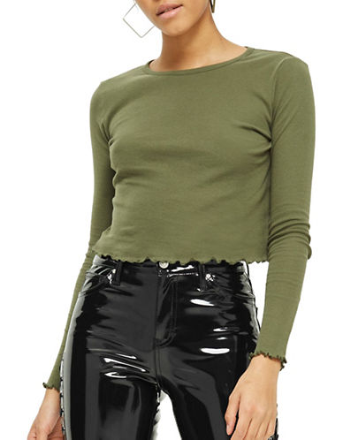 Topshop Lettuce Hem Crop Top-KHAKI-UK 8/US 4